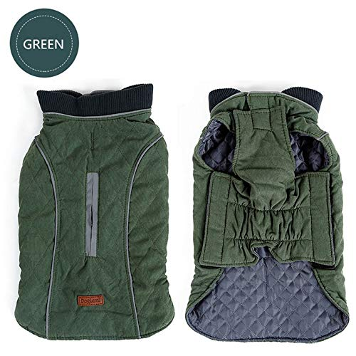 Pnizun  1 PC Dog Clothes Quilted Dog Coat Water Repellent Winter Dog Pet Jacket Vest Retro Cozy Warm Pet Outfit Clothes Big Dogs [Green XXL]