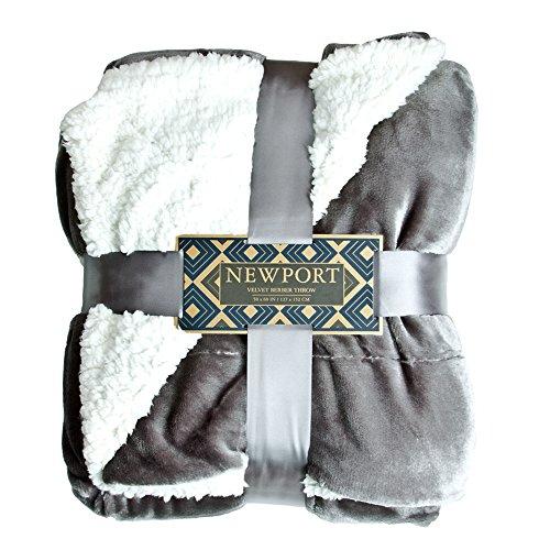 ReLIVE Newport Reversible 50-by-60-inch Velvet Berber Throw Blanket, Grey Mist