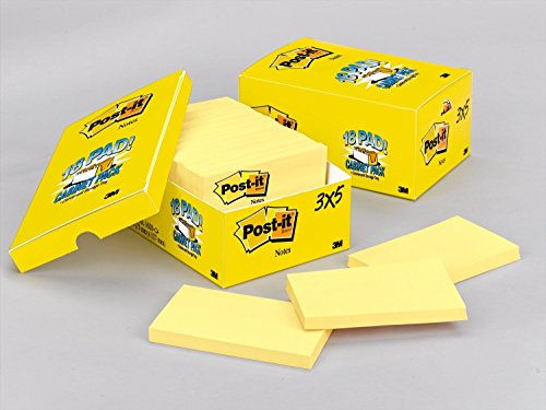 Canary Post - Post-it Notes, America's #1 Favorite Sticky Note, 3 x 5-Inches, Canary Yellow, 18-Pads/Cabinet Pack