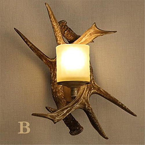 Retro Deer Horn Antler Resin Wall light Fixtures\,2 LED Candle Wall Antique Personality Dining Room Bedroom Cafe Wall Light Simple Creative Living Room Study Hallway Wall Sconce (Style : B)