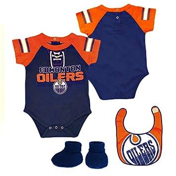 31c82148b Edmonton Oilers NHL Baby Little D Man 3-pc Creeper-Bib-Bootie Set ...