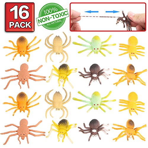 Scary Spiders For Halloween (ValeforToy Spider Toy,16 Pack Mini Rubber Spider Set,Food Grade Material TPR Super Stretchy, Creepy Realistic Squishy Fake Black Spider Halloween Decoration Party Favors Gag Scary Practical)