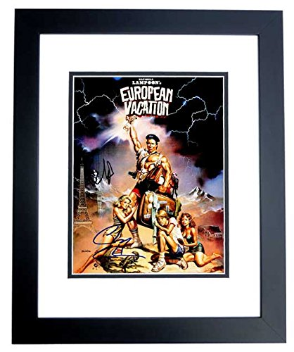 Chevy Chase and Beverly D'Angelo Signed - Autographed European Vacation 11x14 inch Photo BLACK CUSTOM FRAME - Clark Griswold