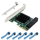 PCI Express PCIE pci-e to SATA III 6 Ports Adapter Card - 6Gbps with Low Profile Bracket and 6 SATA Cables Add 6 SSD and HDD SATA 3.0 Devices for Desktop PCs