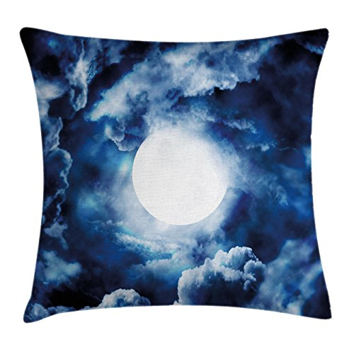 Space Throw Pillow Cushion Cover by Ambesonne, Moon on Sky Surrounded by Storm Clouds Lunar Magic Dark Twilight Dawn Foggy Hallows Image, Decorative Square Accent Pillow Case, 18 X18 Inches, - Pillow Throw Twilight