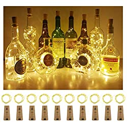 Aluan Wine Bottle Lights 12 Led Cork Bottle Lights Waterproof Battery Operated Wine Cork Lights with Screwdriver for DIY Party Wedding Christmas Bar Bottle Jar Lamp Decor 10 Pack, Warm White