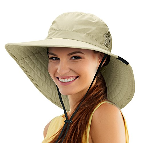 Tirrinia Unisex Sun Hat Fishing Boonie Cap Wide Brim Safari Hat with Adjustable Drawstring for Women Kids Outdoor Hiking Hunting Boating Desert Hawaiian, Tan