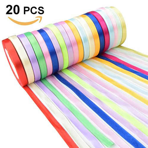 500 Yard Fabric Ribbon Satin Ribbon Rolls Silk Satin Roll, 25 Yard/Rolls,2/5 inch Wide,20 Rolls, Satin Ribbon for Gift Package Wrapping Ribbon Bow Making Crafting Sewing Party Wedding - Coral Silk Ribbon