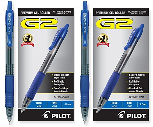 Pilot G2 Retractable Premium Gel Ink Roller Ball Pens, Fine Pt, 24 Pack, Blue