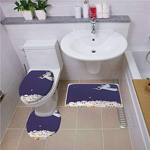 Bath mat set Round-Shaped Toilet Mat Area Rug Toilet Lid Covers 3PCS,Religious,Religious Figure Themed Illustration Miraculous Event Starry Night,Night Blue White Mustard ,Bath mat set Round-Shaped To for $<!--$45.00-->