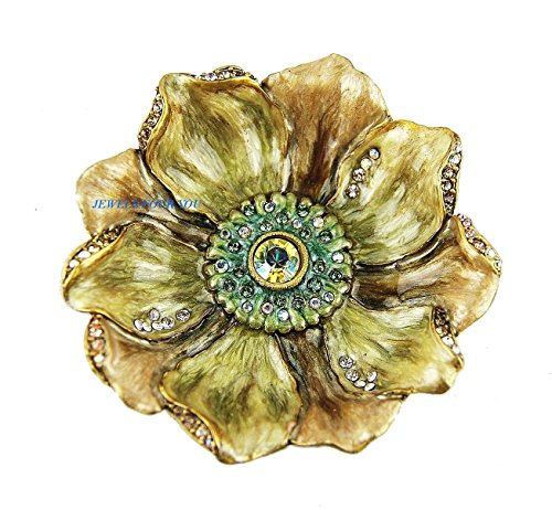 Jay Strongwater Giverny Anemone Gold-Green Flower Trinket Tray Swarovski New #7