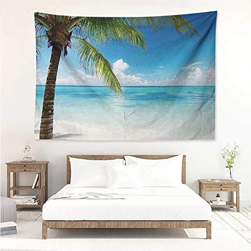 alisos Ocean,Wall Decor Tapestry Exotic Beach Water and Palm Tree by The Shore with Clear Sky Landscape Image 80W x 60L Inch Tapestry Wallpaper Home Decor Green Blue White