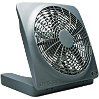O2COOL NEW 10 Battery Operated Fan with Adapter, Graphite