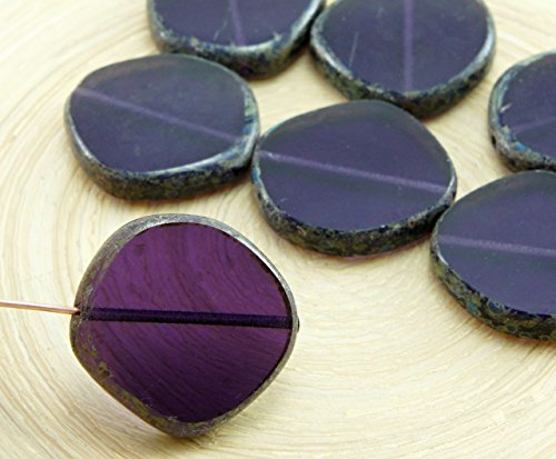 2pcs Picasso Brown Crystal Dark Purple Tanzanite Flat Round 8Edge Window Table Cut Coin Czech Glass Beads 22mm