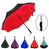 Ylovetoys Double Layer Folding Inverted Umbrella with Straight Handle, Self Stand Upside-down Rain Protection Reverse Umbrella (Red) ¡