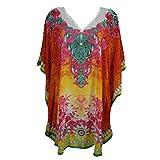 Mogul Women's Kaftan Loose Short Beach Dress Swimsuit Cover Up Caftan (Red-1)