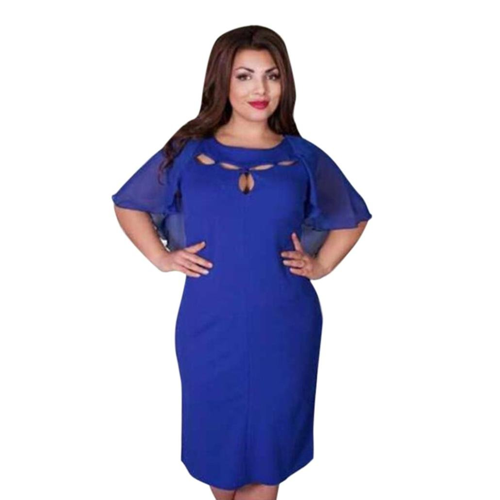 Plus Size Fashion Women Chiffon Backless Loose Fit O-Neck Short Sleeve Dress Casual Solid Beach Party (3XL, Navy)