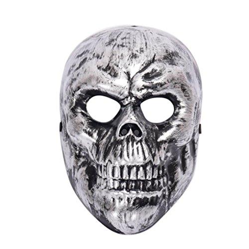 Metallic Skull Mask (Skull Mask Metallic Halloween Metallic Skeleton Adult Full Mask (Silver))