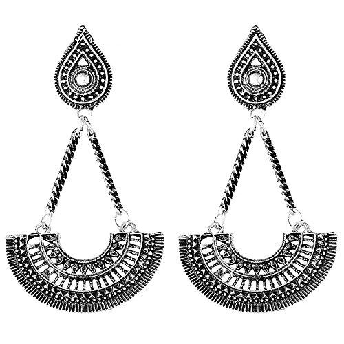 (IndigoEarrings Tibetan Style Boho Dangle Earrings (Dancing Girl Long Dangle))