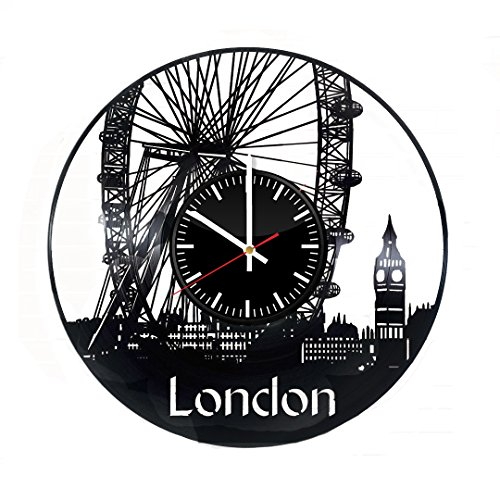 London England Record Wall Clock - Get unique bedroom wall decor - Gift ideas for men and friends – City Skyline Unique Art Design (Ideas For Conservatory Decor)