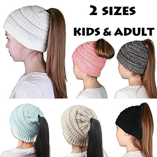 DesirePath Ponytail Beanie Hat Stretch Knit High Bun Beanietail For Women Kids Children Teens Girls Handmade Cap Christmas Gift