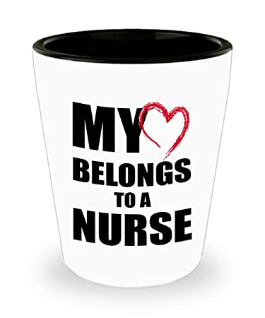 Nurse Gift Shot Glass Romantic Shotglass For Husband Wife Boyfriend Girlfriend My Heart Belongs