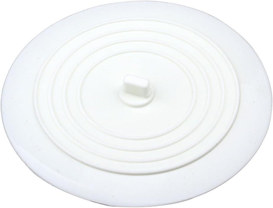 Tapón de drenaje Kuou de 6 pulgadas, de silicona, color blanco/negro, para bañera, tapón de drenaje para cocinas, baños y lavanderías