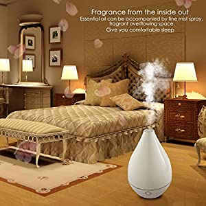 Ultrasonic Cool Mist Humidifier, Yimei 500ml Essential Oil Diffuser for Office Home Bedroom Automatic Shut-Off Whisper Quiet Operation with 7 Color Soft Night Lights