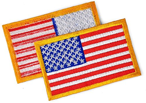 (American Flag USA Flag Patch Flag Patches Military multitan Flag Patch, Borders on State Patches for United States Flag Jacket Embroidered Patch Sewn on or Ironed on (Red - Gold))