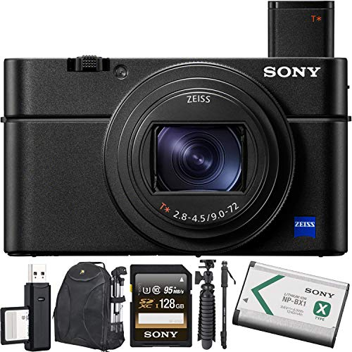 Sony Cyber-Shot DSC-RX100 VII Digital Camera + 128GB Memory Card + Tripod + Carrying Case + Monopod + Mini Tripod Bundle