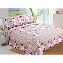 Stumix Luxury Pink and Grey Patchwork Pattern Quilted bedspreads Reversible Quilt Set 3PC Set, Bedspread Quilt Set