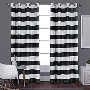 Turquoize Nautical Room Darkening (2 PANELS), Grommet Top, Light Blocking Curtains, 52 by 63 -Inch,Blackout, Wave Stripes Pattern, Black & White, Sold by Pair