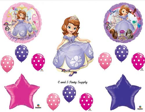 SOFIA THE FIRST Happy Birthday PARTY Balloons Decorations Supplies Disney POLKA DOTS ()