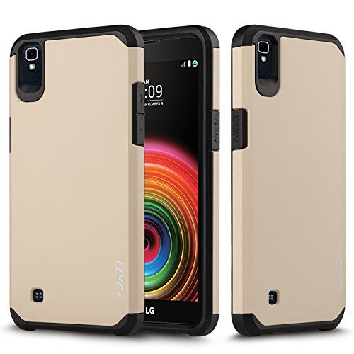 J&D Case Compatible for LG X Power Case, Heavy Duty [Dual Layer] Hybrid Shock Proof Protective Rugged Bumper Case for LG X Power Case - [Not for LG X Charge/LG X Power 2] - Gold