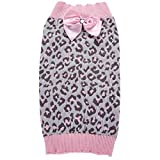 HORHIN Pet Clothes Pink Leopard Print Dog Cat Sweater,Puppy Cute Clothes Winter Knitted Bowknot Warm Sweater Vest,Xmas Dog Puppy Holiday Festival New Year Knitwear Outfit Costume Sweater