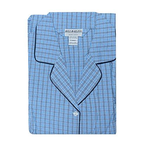 Bill Baileys Sleepwear Mens Broadcloth Woven Nightshirt Sleep Shirt (Mdium, Blue Navy Plaid)