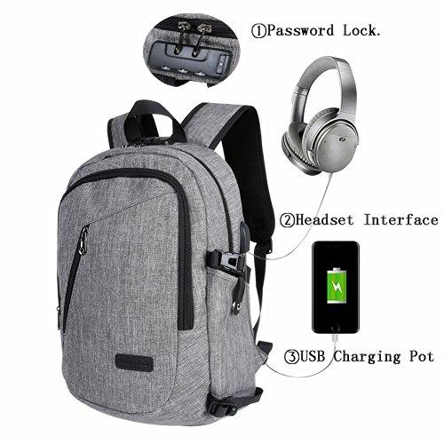Anti-Diebstahl-USB-wiederaufladbare Laptop-Rucksack für Schule mit USB-Aufladung Hafen und Verschluss u. Kopfhörer-Jack-wasserdichter Laptop-Rucksack passt 15.6 - Inch Laptop für Studenten von LongJu