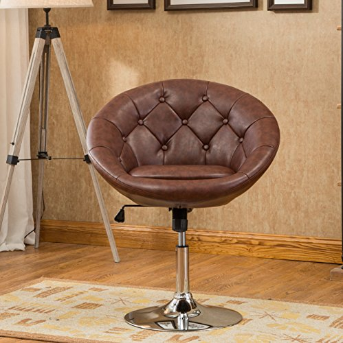 Roundhill Furniture Noas Contemporary Round Tufted Back Tilt Swiviel Accent