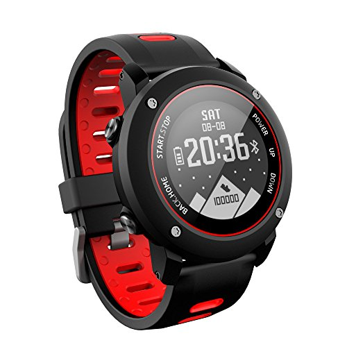 Smart Watch GPS Sports Watch Running watch Outdoor Sports Treadmill Walking Marathon ip68 Deep Waterproof Fitness Workout Support Compatible with iOS and Android (UW90-Red)
