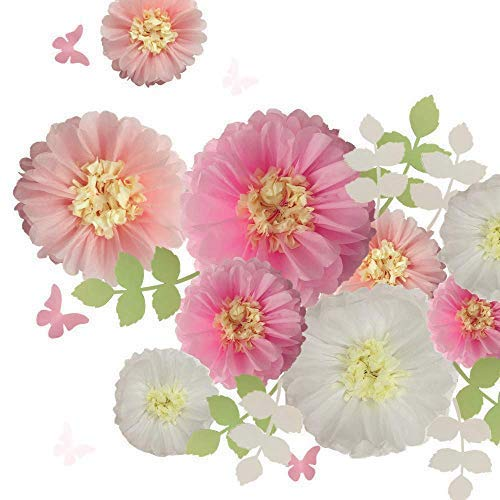 Fonder Mols Tissue Paper Chrysanth Flowers with Butterfly and Olive Leaves for Wedding Baby Shower Nursery Room Parties & Events Decorations Pom Poms (Set of 21, White Pink) -
