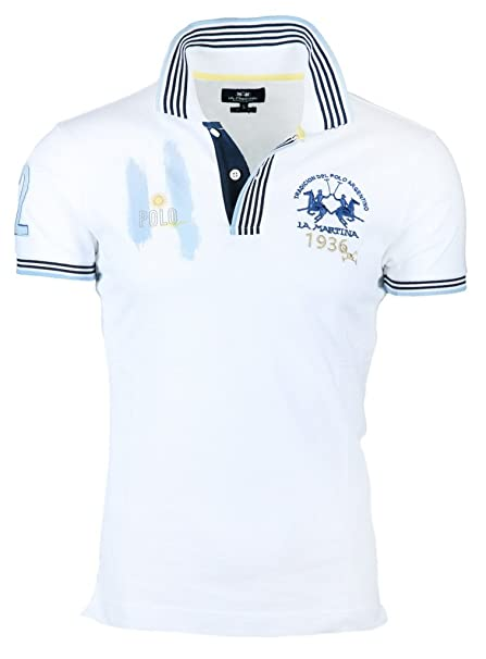 La Martina Hombres Camisa de Polo Slim Fit Escobar M Blanco ...