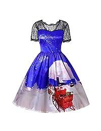 FarJing Christmas Dress Christmas Women Lace Patchwork Vintage Gown Party Dress