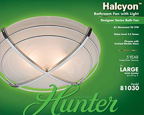 Hunter 81030 Halcyon Bathroom Exhaust Fan and Light in Contemporary Cast Chrome by Hunter Home Comfort (Image #4)
