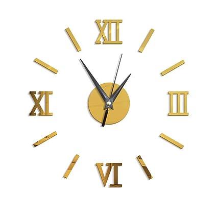 YUNOLL Reloj De Pared DIY Desmontable Ebay Hogar Europeo Y Americano Reloj De Pared Espejo Reloj