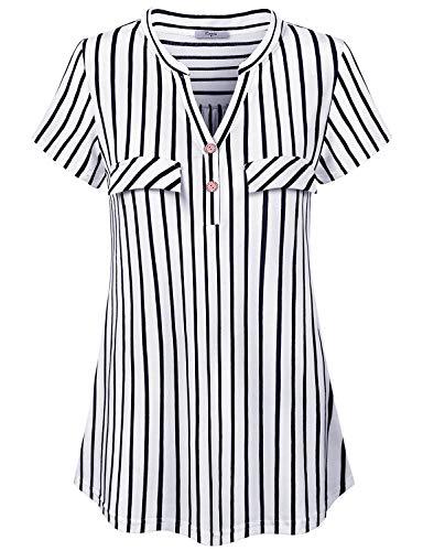 (Cestyle Black and White Striped Shirt Women, Top for Womens Tunics for Leggings Peasant V Neck Short Sleeve Comfy Soft Vintage Button Details Elegant Blouses Medium)