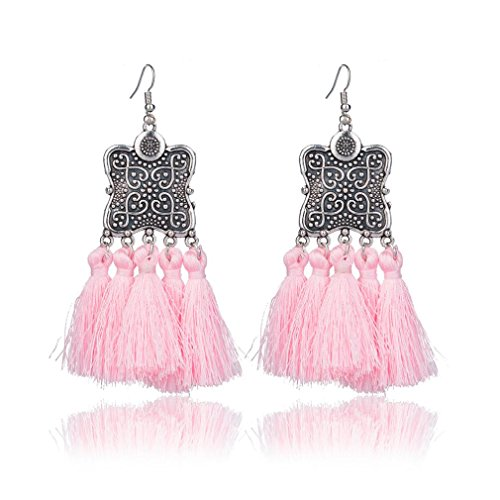 Dangling Button Earrings (Women/Girl's Dangling Earring, WuyiMC Flower Tassel Alloy Hook Earrings for Women (Pink))