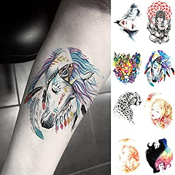 Oottati 8 Hojas Tatuajes Temporales Brazo Pierna León Leopardo ...