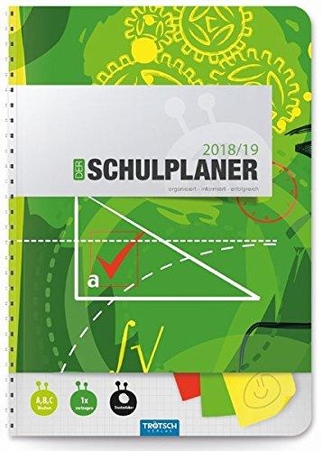 Schulplaner Grün 2018/2019 - Schülerplaner, Schülerkalender: Timer mit Umschlag und Tasche