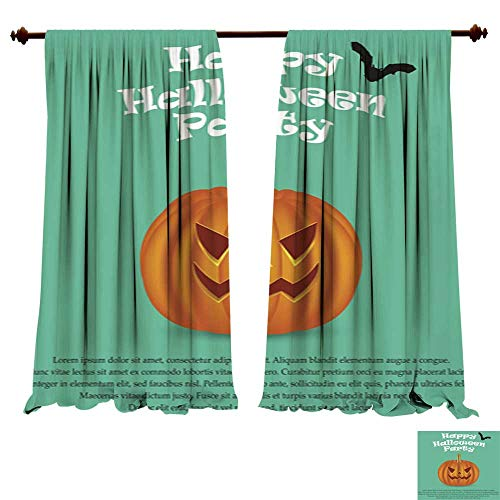 (DragonBuildingMaterials Window Curtains for Bedroom Wicked Pumpkin for Halloween Jack Lantern2 Window Drapes for Home)