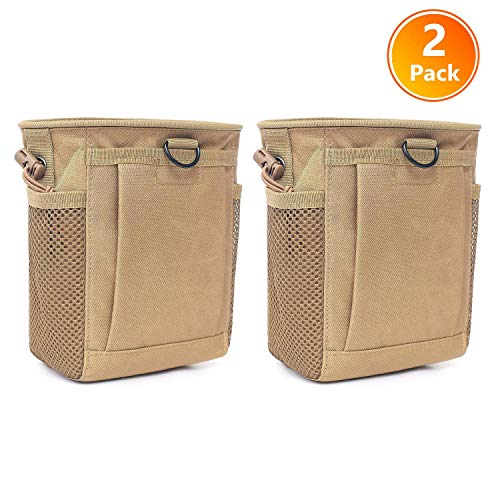 - Tactical Molle Drawstring Magazine Dump Pouch, Adjustable Military Utility Belt Fanny Hip Holster Bag Outdoor Ammo Pouch (2 Pack-Tan)